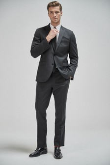 Charcoal Jacket Twill 100% Wool Tailored Fit Suit