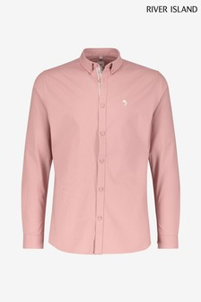 River Island Pink Dark Muscle Fit Oxford Shirt