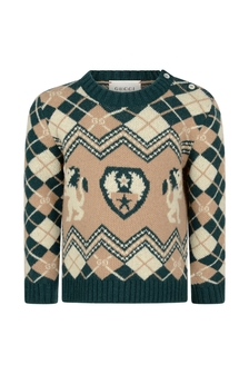 GUCCI Kids Baby Boys Camel Jacquard Knitted Wool Jumper