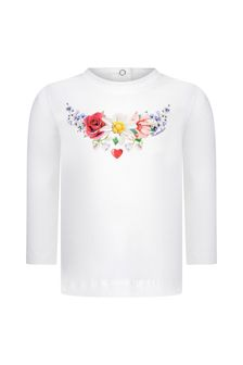 Baby Girls Ivory Cotton Long Sleeve Floral T-Shirt