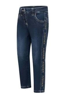 Girls Blue Denim Stretch Logo Jeans