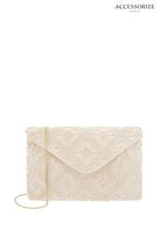 Accessorize Cream Tile Beaded Oversized Clutch