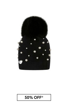 Girls Black Wool & Pearl Pom Pom Hat
