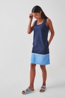 Navy Colourblock Linen Blend Square Neck Dress