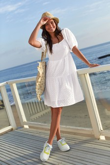 White Broderie Puff Sleeve Dress