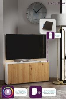 Frank Olsen Smart LED White and Oak Corner TV Unit