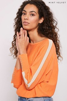 Mint Velvet Orange Stripe Overarm Jumper