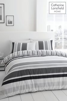 Catherine Lansfield Grey Brighton Stripe Duvet Cover and Pillowcase Set