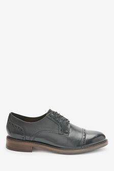Black Leather Brogue Detail Lace-Up Shoes