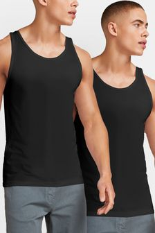 Black Vests Pure Cotton Two Pack