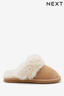 Tan Faux Fur Mule Slippers (Older)