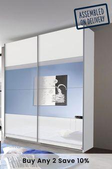 White Central Mirror Courtney 1.81m Sliding Wardrobe by Rauch