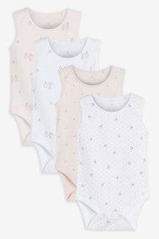 Pink 4 Pack GOTS Organic Bunny Vest Bodysuits (0mths-3yrs)