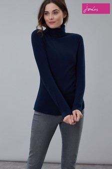 Joules Blue Clarissa Roll Neck Jersey Top