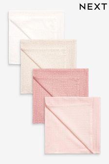Pink Spot 4 Pack Muslin Cloths (Newborn)
