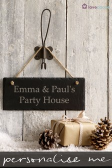 Personalised Party House Slate Sign by Loveabode