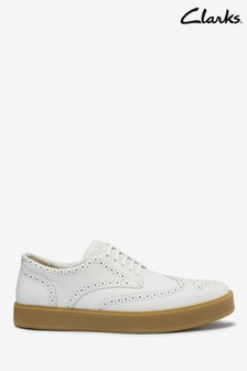 Clarks White Leather Hero Limit Shoes