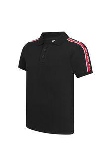 Boys Black Cotton Polo Shirt