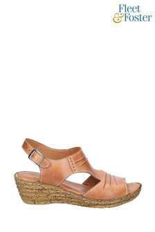 Fleet & Foster Brown Incence Pleated Leather Wedge Sandals