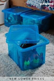 Set of 3 Wham Crystal 24L Plastic Storage Box & Lid