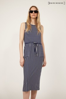 Warehouse Blue Stripe Utility Midi Dress