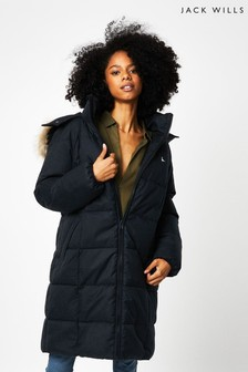 Jack Wills Black Mia Quilted Parka