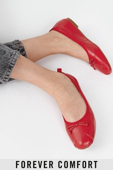 Red Leather Regular/Wide Fit Signature Forever Comfort® Ruched Ballerina Shoes