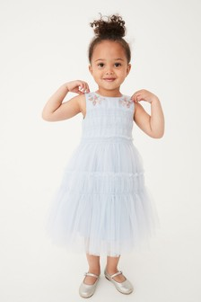 Pale Blue Embroidered Tulle Tiered Dress (3mths-7yrs)