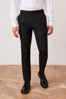Black Slim Fit Suit: Trousers