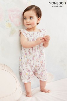 Monsoon Natural Baby Flamingo Print Romper