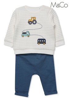M&Co Kids Blue Quilted Waffle Top And Joggers Set