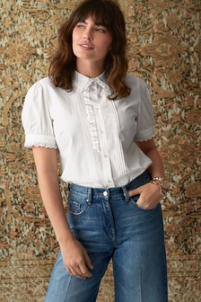 White Short Sleeve Embroidered Shirt