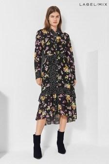 Next/Mix Floral Print Shirt Dress