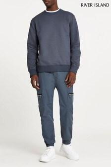 River Island Grey Zip Pocket Cargo Trousers