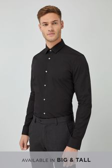 Black Slim Fit Single Cuff Cotton Shirt