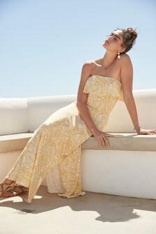 Yellow Palm Print Bandeau Maxi Dress