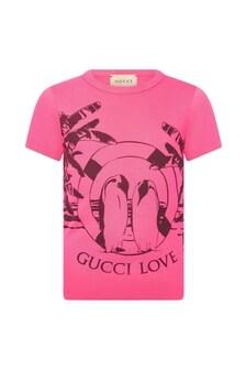 GUCCI Kids Girls Pink Cotton T-Shirt