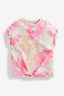 Pink Short Sleeve Tie Front T-Shirt (3-16yrs)