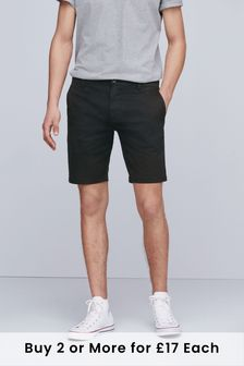 Black Slim Fit Stretch Chino Shorts