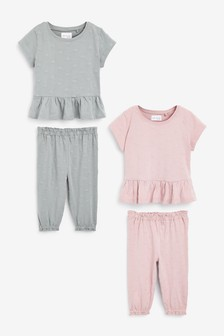Pink/Grey 2 Pack All Over Embroidery Peplum Top Cotton Pyjamas (9mths-8yrs)