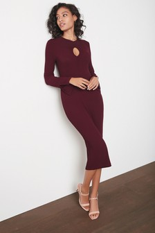 Berry Red Cut Out Long Sleeve Midi Dress