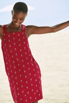 Red Print Linen Blend Square Neck Dress
