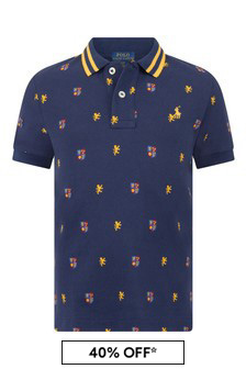 Boys Navy Cotton Pique Polo Top