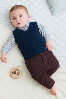 Blue 3 Piece Smart Bodysuit, Knitted Vest And Trouser Set (0mths-3yrs)