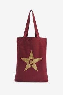 Berry Gold Star Initial Print Reusable Bag