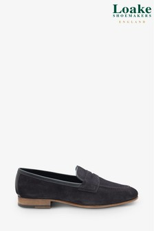 Loake Navy Darwin Suede Loafers