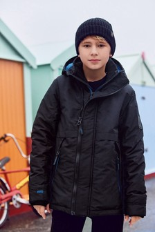 Black Shower Resistant Warm Wadded Jacket (3-16yrs)