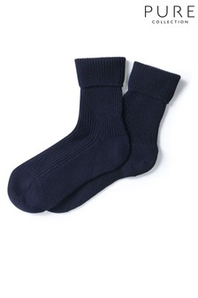 Pure Collection Blue Cashmere Socks