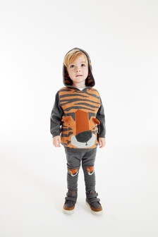 Grey Knitted Tiger Hoody And Jogger Set (3mths-7yrs)