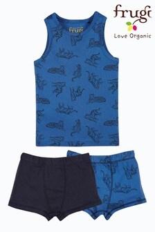 Frugi GOTS Organic 3 Piece Vest and Boxer Set - Blue